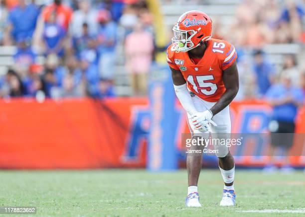 Jacob Copeland of the Florida Gators looks on during the third quarter of a game against the Towson Tigers at Ben Hill Griffin Stadium on September...
