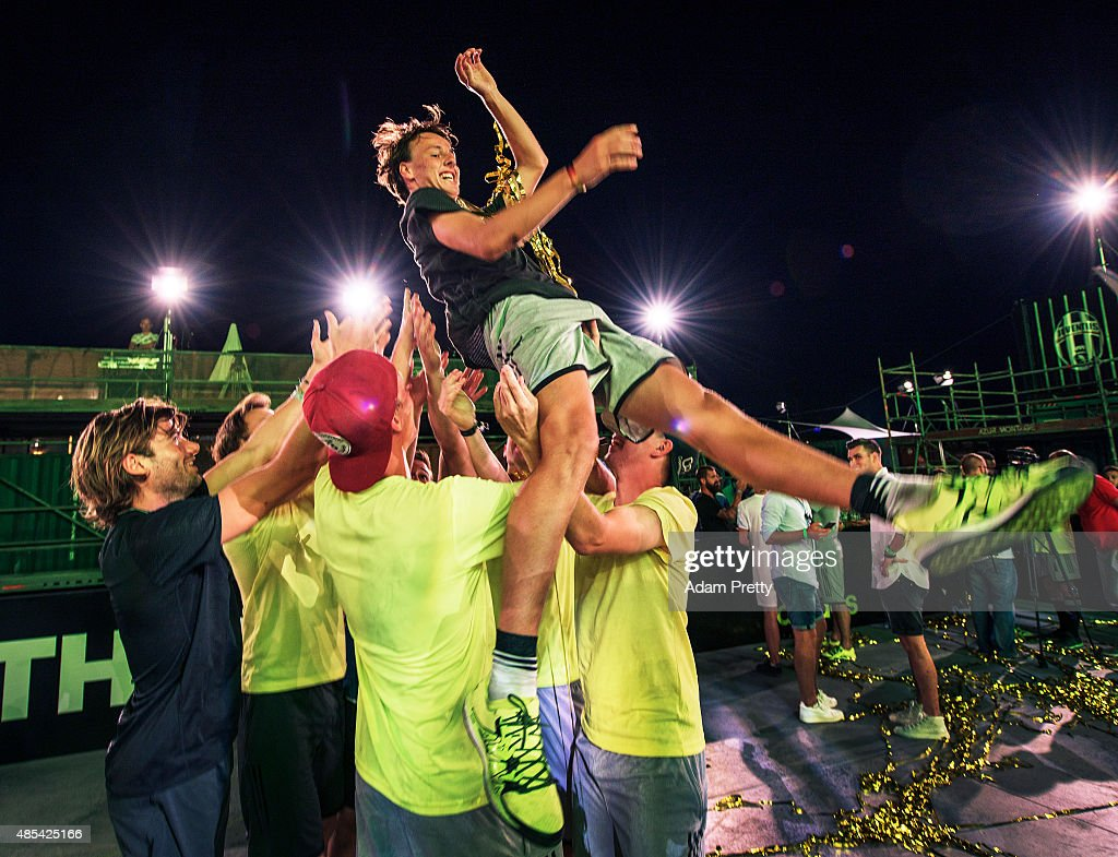 Jacob Corneliusen of Denmark is thrown in the air after winning the adidas #BETHEDIFFERENCE World Final on August 27, 2015 in Marseille, France.