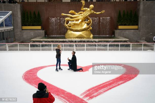 Jacob Cox proposes to Cierra Sorrells on Valentine's Day at Rockefeller Center Ice Rink February 14 2018 in New York City Sorrells said yes The...