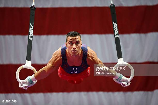 Jacob Dalton competes on the rings during day one of the 2016 Men's Gymnastics Olympic Trials at Chafitz Arena on June 23 2016 in St Louis Missouri