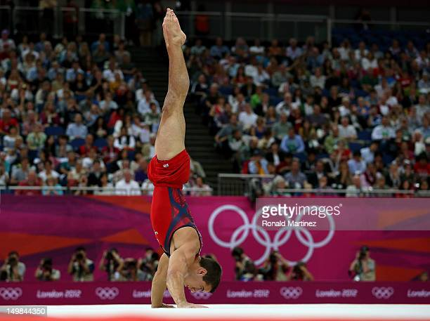 Jacob Dalton of the United States competes on the floor in the Artistic Gymnastics Men's Floor Exercise final on Day 9 of the London 2012 Olympic...