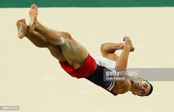 Jacob Dalton of the United States competes on the floor in the Artistic Gymnastics Men's Team qualification on Day 1 of the Rio 2016 Olympic Games at...