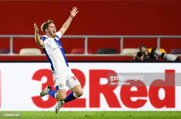 Jacob Davenport of Blackburn Rovers celebrates scoring his sides second goal during the Sky Bet Championship match between Brentford and Blackburn...