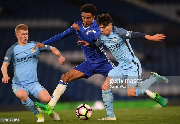 Jacob Davenport of Manchester City and Brahim Diaz of Manchester City close out Jacob Maddox of Chelsea during the FA Youth Cup Final second leg...