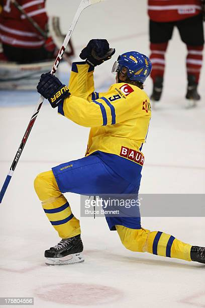 Jacob de la Rose of Team Sweden celebrates his goal at 19:12 of the second period against Team Canada during the 2013 USA Hockey Junior Evaluation...