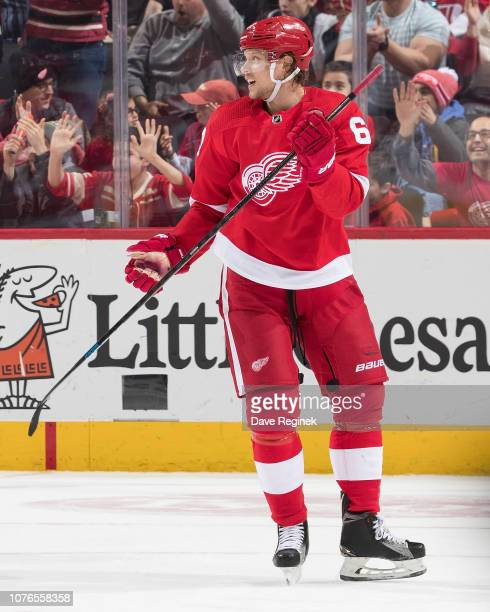 Jacob de la Rose of the Detroit Red Wings celebrates his first period goal during an NHL game against the Calgary Flames at Little Caesars Arena on...