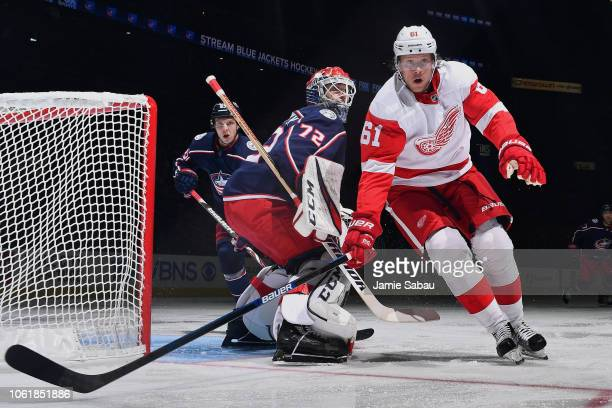 Jacob de la Rose of the Detroit Red Wings skates against the Columbus Blue Jackets on October 30 2018 at Nationwide Arena in Columbus Ohio