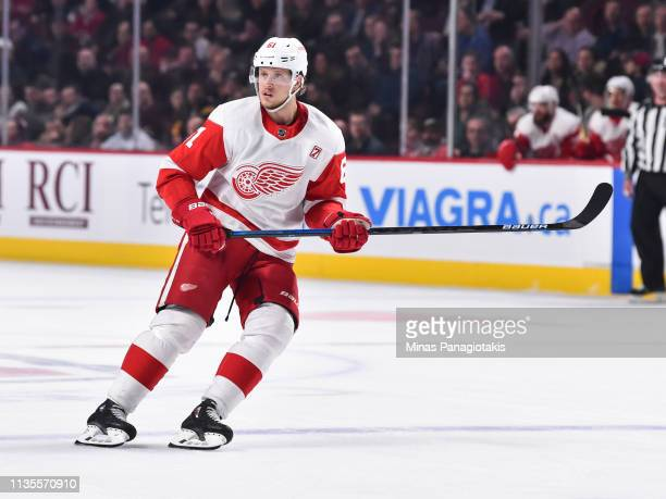 Jacob de la Rose of the Detroit Red Wings skates against the Montreal Canadiens during the NHL game at the Bell Centre on March 12 2019 in Montreal...