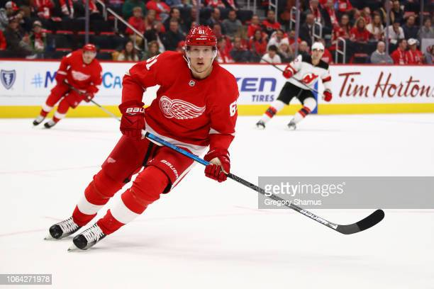 Jacob de la Rose of the Detroit Red Wings skates against the New Jersey Devils at Little Caesars Arena on November 01 2018 in Detroit Michigan...