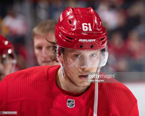 Jacob De La Rose of the Detroit Red Wings skates off the ice after being injured during an NHL game against the New York Islanders at Little Caesars...