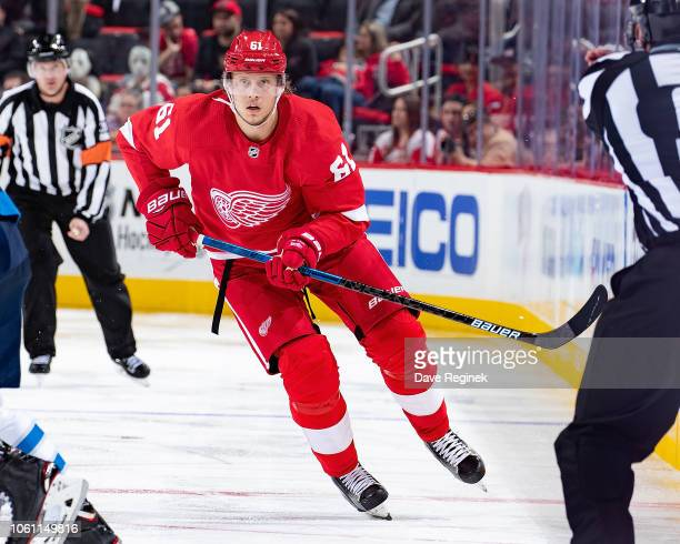 Jacob de la Rose of the Detroit Red Wings skates up ice against the Winnipeg Jets during an NHL game at Little Caesars Arena on October 26 2018 in...