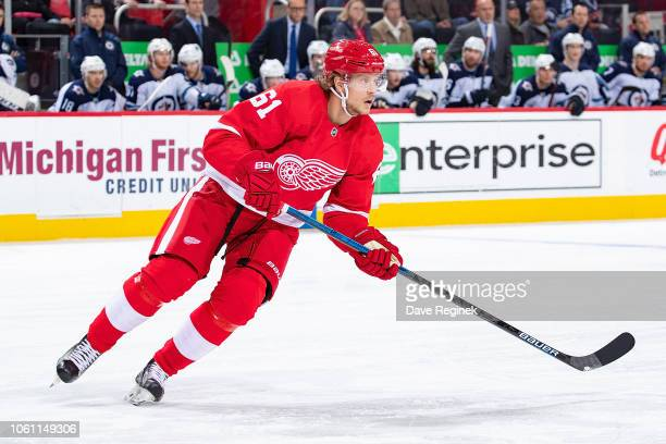 Jacob de la Rose of the Detroit Red Wings turns up ice against the Winnipeg Jets during an NHL game at Little Caesars Arena on October 26 2018 in...