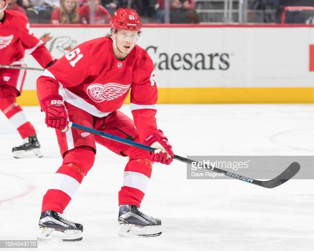 Jacob de la Rose of the Detroit Red Wings watches the puck during an NHL game against the Winnipeg Jets at Little Caesars Arena on October 26 2018 in...