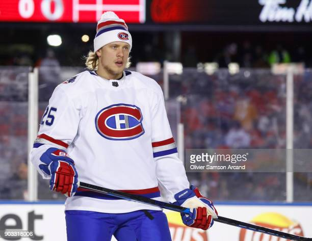 Jacob de la Rose of the Montreal Canadiens looks on during warm up prior to the 2017 Scotiabank NHL 100 Classic at Lansdowne Park on December 16 2017...