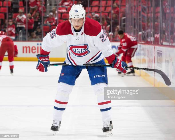 Jacob De La Rose of the Montreal Canadiens looks on during warmups prior to an NHL game against the Detroit Red Wings at Little Caesars Arena on...