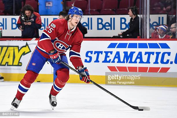 Jacob De La Rose of the Montreal Canadiens looks to shoot the puck during the warmup prior to the NHL game against the Calgary Flames at the Bell...