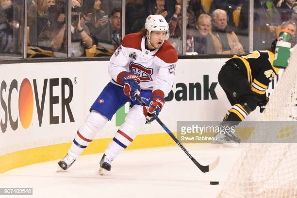 Jacob de la Rose of the Montreal Canadiens skates against the Boston Bruins at the TD Garden on January 17 2018 in Boston Massachusetts