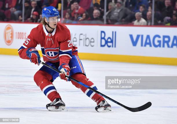 Jacob De La Rose of the Montreal Canadiens skates against the Florida Panthers in the NHL game at the Bell Centre on March 19 2018 in Montreal Quebec...