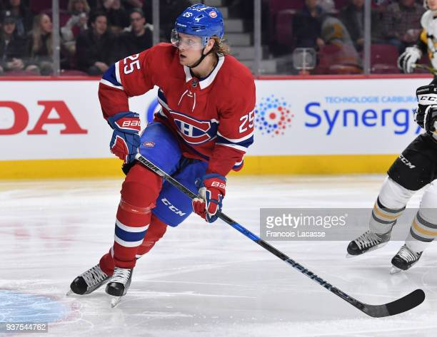 Jacob De La Rose of the Montreal Canadiens skates against the Pittsburgh Penguins in the NHL game at the Bell Centre on March 15 2018 in Montreal...