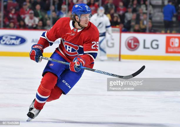 Jacob De La Rose of the Montreal Canadiens skates against the Tampa Bay Lightning in the NHL game at the Bell Centre on February 24 2018 in Montreal...