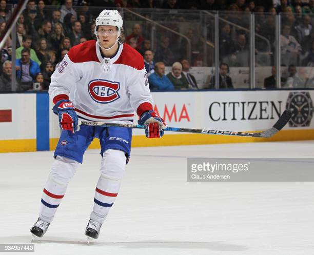 Jacob de la Rose of the Montreal Canadiens skates against the Toronto Maple Leafs during an NHL game at the Air Canada Centre on March 17 2018 in...