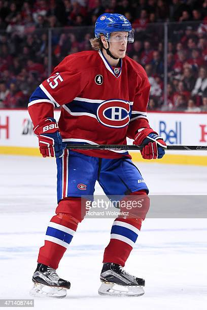 Jacob De La Rose of the Montreal Canadiens skates during Game Five of the Eastern Conference Quarterfinals of the 2015 NHL Stanley Cup Playoffs at...