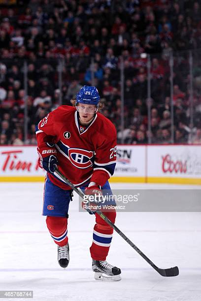 Jacob De La Rose of the Montreal Canadiens skates during the NHL game against the Toronto Maple Leafs at the Bell Centre on January 17 2015 in...