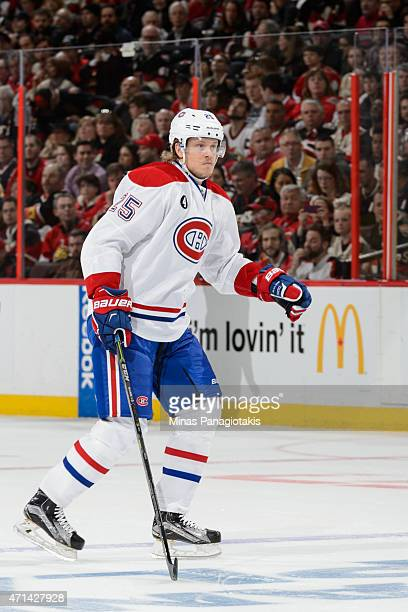 Jacob De La Rose of the Montreal Canadiens skates in Game Six of the Eastern Conference Quarterfinals against the Ottawa Senators during the 2015 NHL...