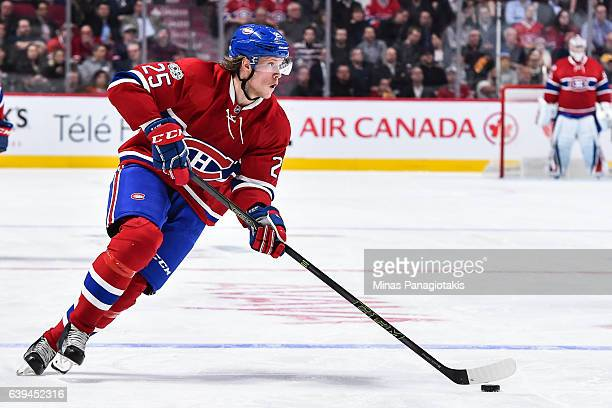 Jacob De La Rose of the Montreal Canadiens skates the puck during the NHL game against the Pittsburgh Penguins at the Bell Centre on January 18 2017...