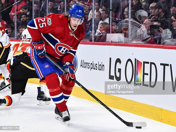 Jacob De La Rose of the Montreal Canadiens skates the puck during the NHL game against the Calgary Flames at the Bell Centre on January 24 2017 in...