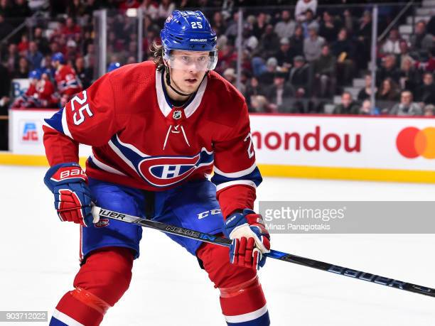 Jacob de la Rose of the Montreal Canadiens skates towards the play against the Vancouver Canucks during the NHL game at the Bell Centre on January 7...