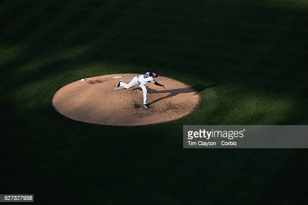 Jacob deGrom New York Mets pitching in the late afternoon sunlight during the New York Mets Vs Boston Red Sox MLB regular season baseball game at...