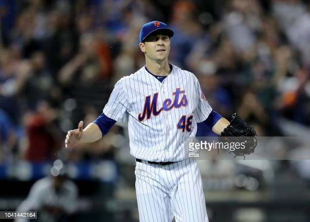 Jacob deGrom of the New York Mets celebrates the final out of the eighth inning against the Atlanta Braves on September 262018 at Citi Field in the...