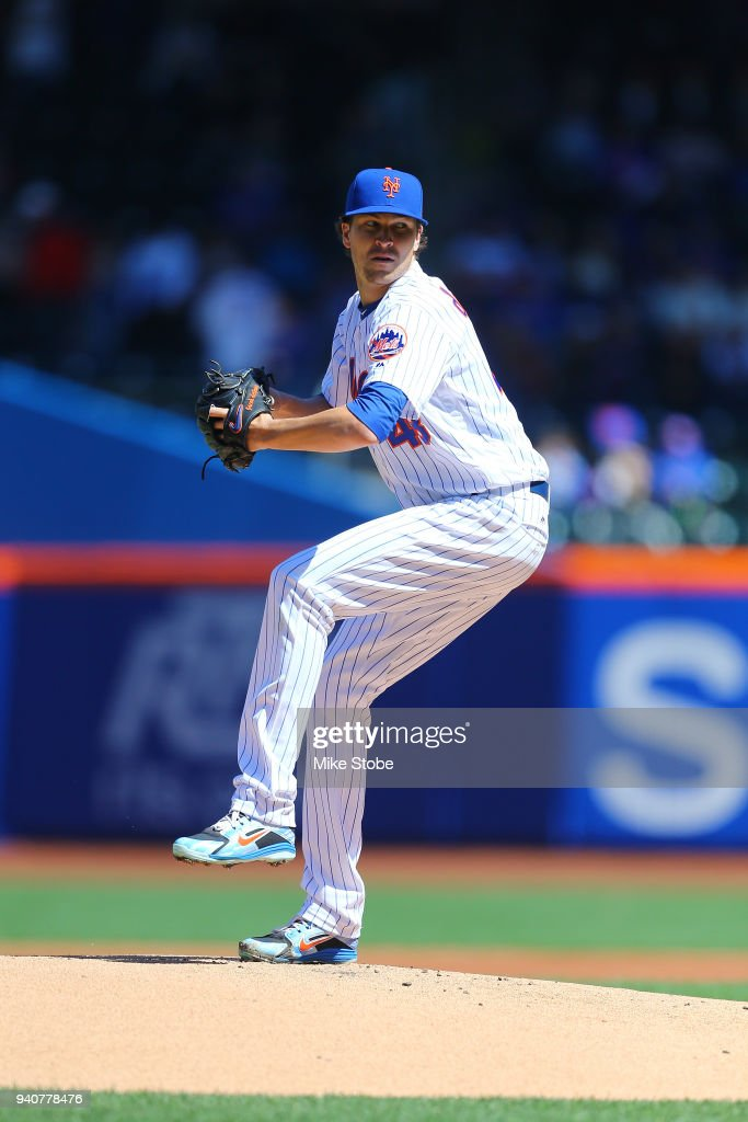Jacob deGrom #48 of the New York Mets in action against the St. Louis Cardinals at Citi Field on March 31, 2018 in the Flushing neighborhood of the Queens borough of New York City. New York Mets defeated the St. Louis Cardinals 6-2.