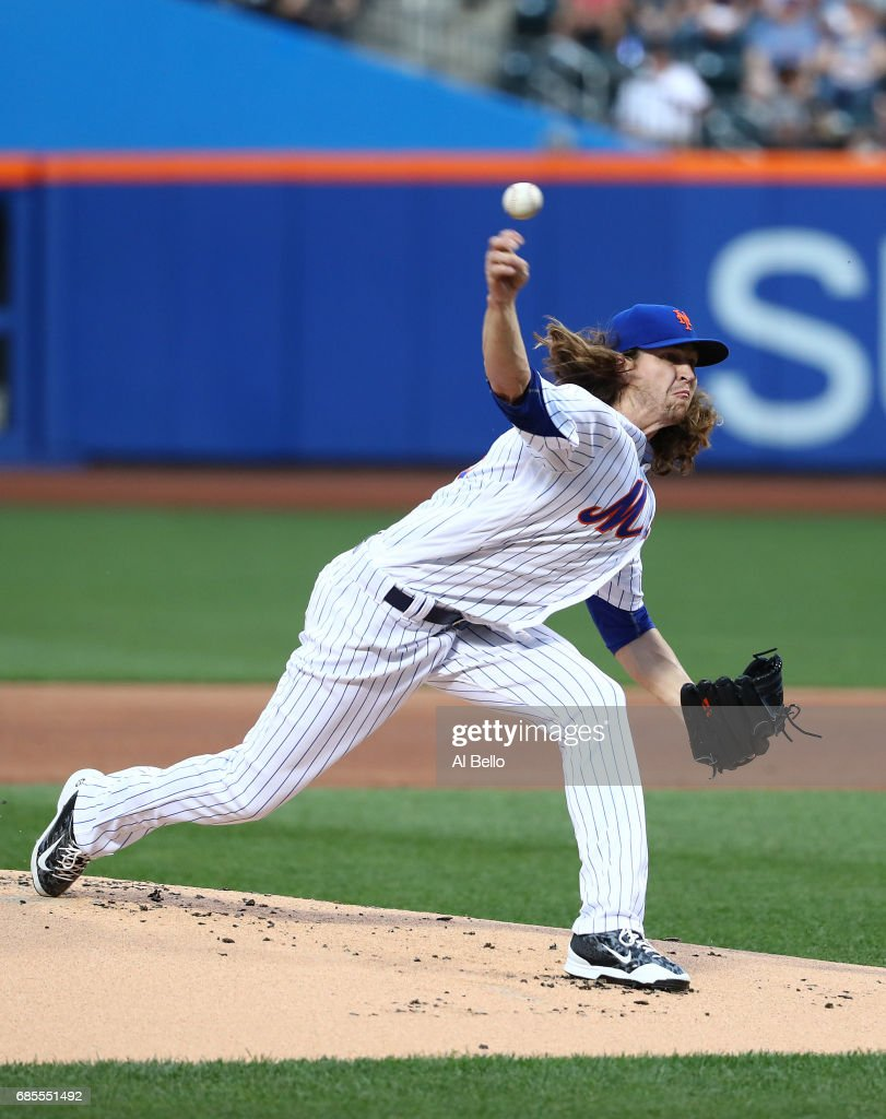Jacob deGrom #48 of the New York Mets pitches against the Los Angeles Angels during their game at Citi Field on May 19, 2017 in New York City.