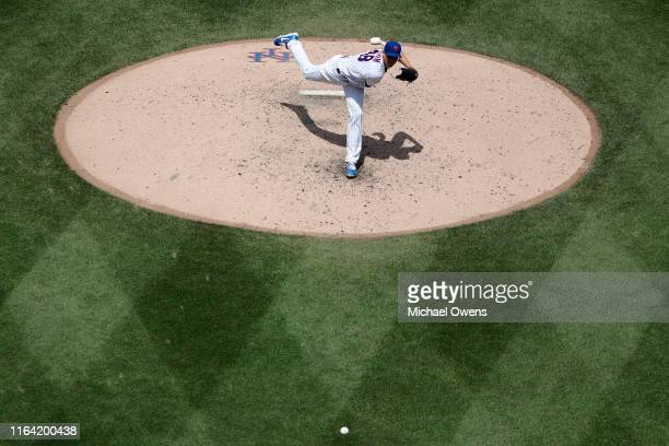 Jacob deGrom of the New York Mets pitches against the San Diego Padres in the seventh inning at Citi Field on July 25 2019 in New York City The New...
