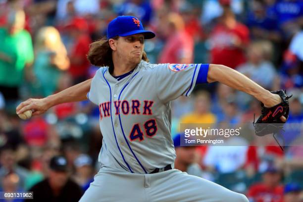 Jacob deGrom of the New York Mets pitches against the Texas Rangers in the bottom of the first inning at Globe Life Park in Arlington on June 6 2017...