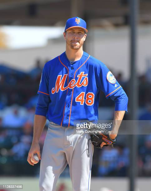 Jacob deGrom of the New York Mets pitches during the Spring Training game against the Detroit Tigers at Publix Field at Joker Marchant Stadium on...