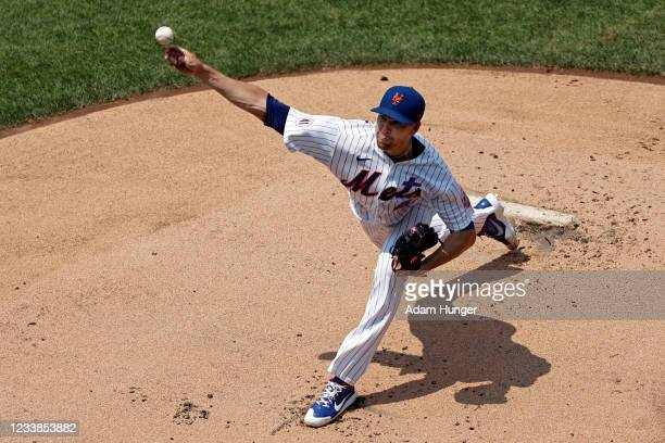 Jacob deGrom of the New York Mets pitches in the first inning against the Milwaukee Brewers during game one of a doubleheader at Citi Field on July...