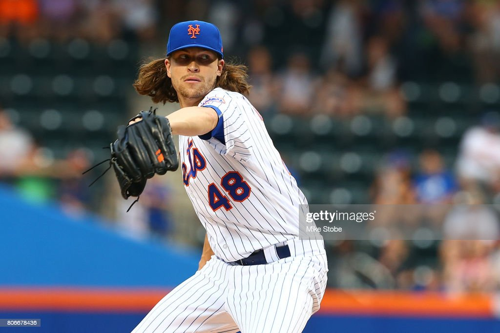 Jacob deGrom #48 of the New York Mets pitches in the first inning against the Philadelphia Phillies at Citi Field on June 30, 2017 in the Flushing neighborhood of the Queens borough of New York City. New York Mets defeated the Philadelphia Phillies 2-1.
