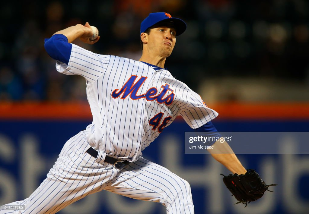 Jacob deGrom #48 of the New York Mets pitches in the second inning against the Washington Nationals at Citi Field on April 16, 2018 in the Flushing neighborhood of the Queens borough of New York City.