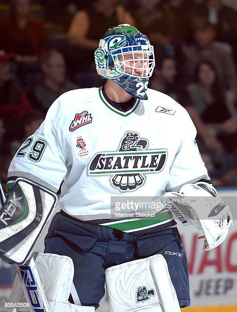 Jacob DeSerres of the Seattle Thunderbirds defends the net against the Kelowna Rockets on October 29 2008 at Prospera Place in Kelowna Canada