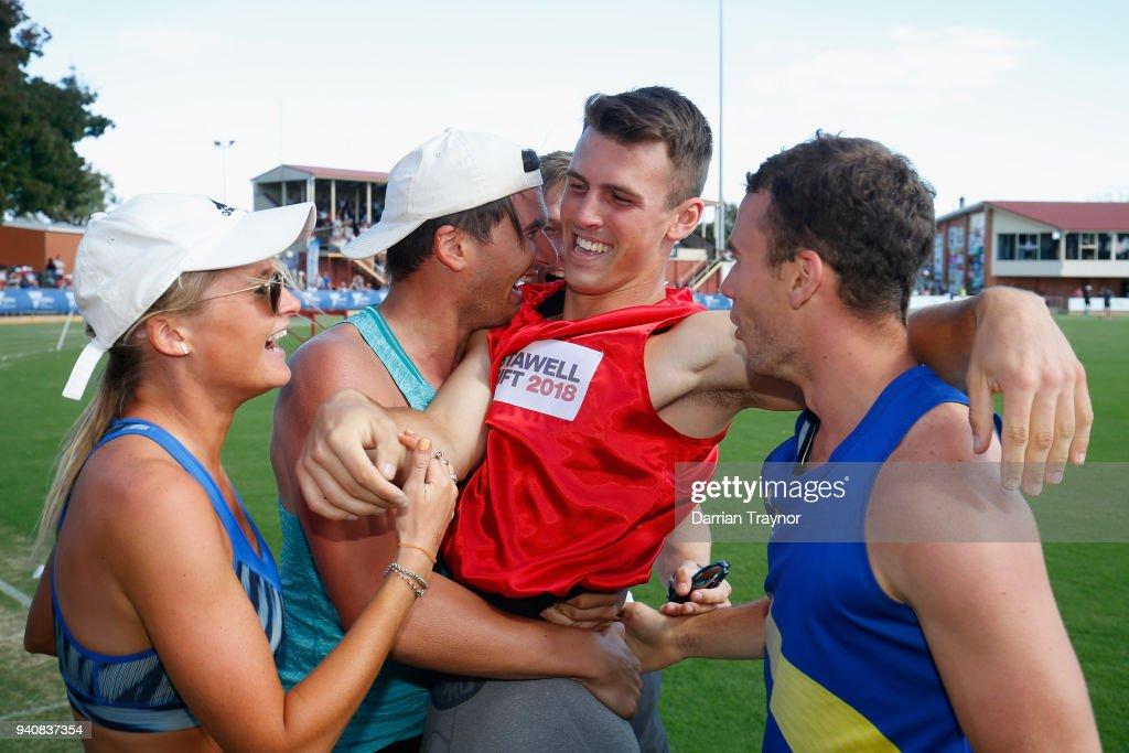 Jacob Despard of Tasmania celebrates winning the Stawell Gift on April 2, 2018 in Stawell, Australia.