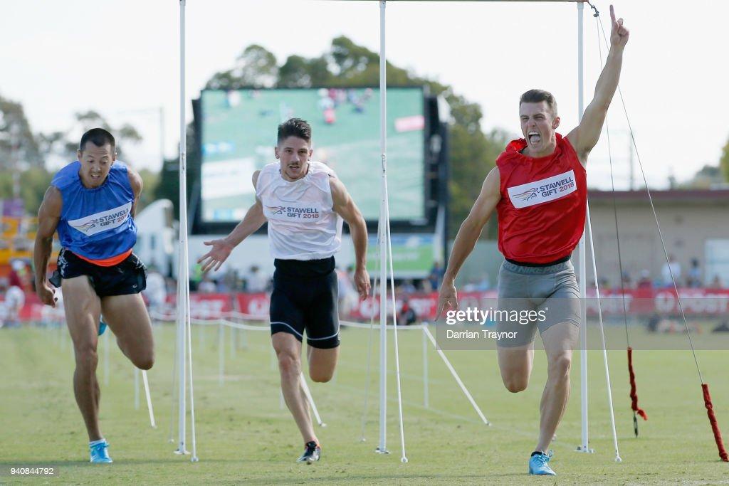 Jacob Despard of Tasmania wins the Stawell Gift on April 2, 2018 in Stawell, Australia.