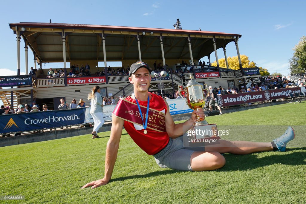 Jacob Despard poses with the the winners trophie after Stawell Gift on April 2, 2018 in Stawell, Australia.