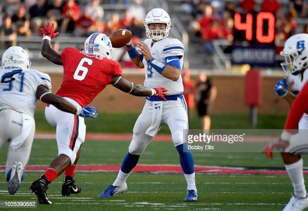 Jacob Dolegala of the Central Connecticut State Blue Devils drops back to pass during the first quarter of the game against the Ball State Cardinals...