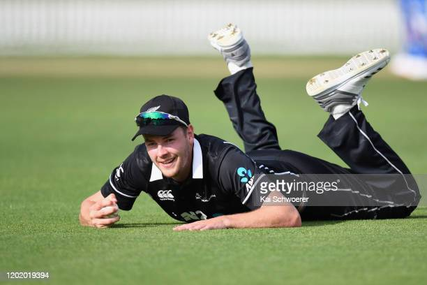 Jacob Duffy of New Zealand A takes a catch to dismiss Axar Patel of India A during the One Day International match between New Zealand A and India A...
