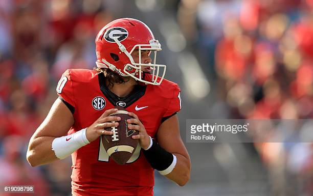 Jacob Eason of the Georgia Bulldogs in action during the first half of the game against the Florida Gators at EverBank Field on October 29 2016 in...