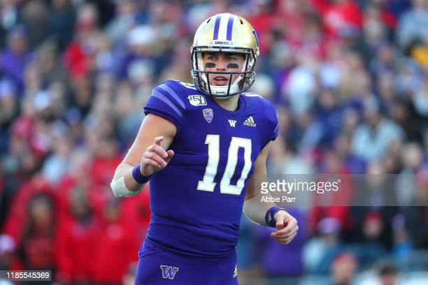 Jacob Eason of the Washington Huskies looks on against the Utah Utes in the first quarter during their game at Husky Stadium on November 02 2019 in...