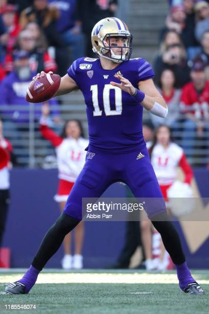Jacob Eason of the Washington Huskies looks to throw the ball against the Utah Utes in the first quarter during their game at Husky Stadium on...